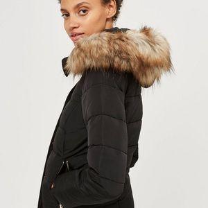 ZARA Black Puffer Jacket w/ Fur Hood